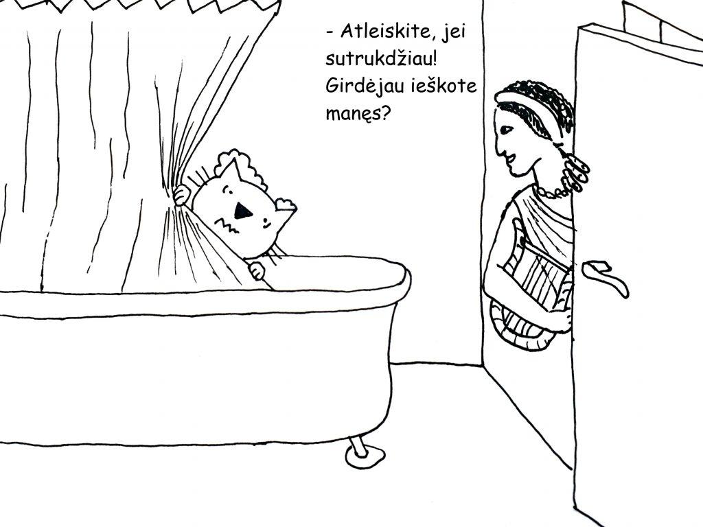 Paveikslėlis, kuriame Mūza užklumpa katiną duše